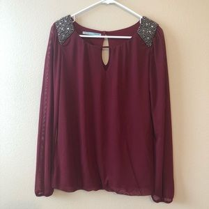 Maurices Embellished Holiday Cranberry Blouse—S